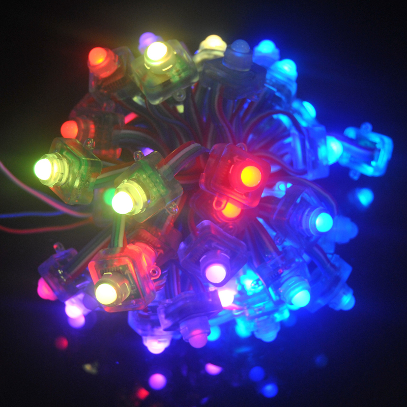 1000pcs 12MM 5V WS2801 IC Square LED Modules Lighting String Waterproof 2801 Pixel Full Color Christmas String Light