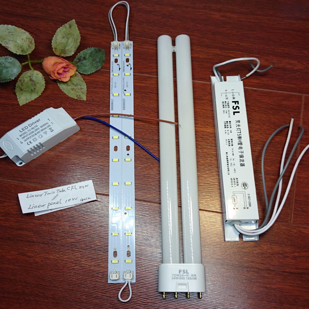 20 LEDs Retrofit Panel (with LED driver) Replace 24W 2g11 (4-pin) Compact Fluorescent Linear Twin Light Tube Bulb + Ballast