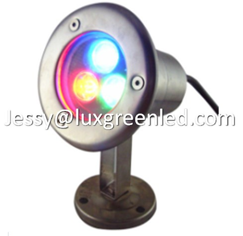 12v-24v dc IP68 304 SS RGB 3x3w led undewater light swimming pool, CE RHOS FCC certificated
