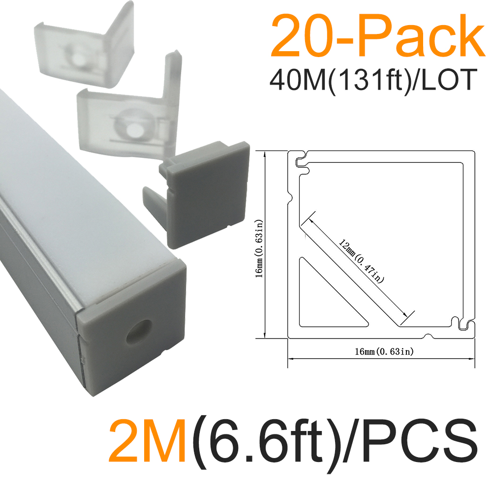 40M/lot 20x2M(6.6ft)Silver Corner Aluminum LED Channel kit for LED Strip Installation Aluminum LED Housing Profile