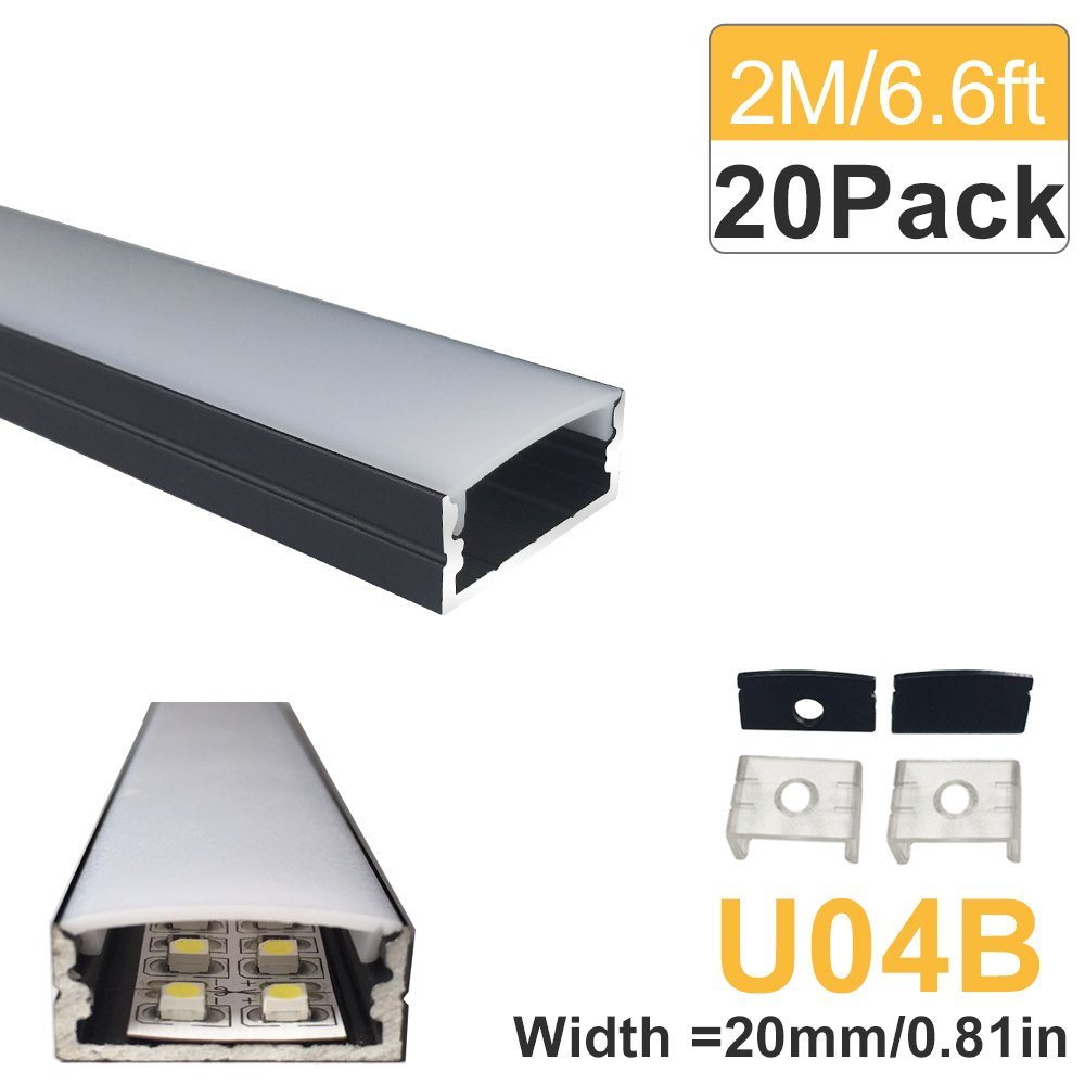 20-Pack 2M(6.6ft) Black LED Aluminum Profile 20mm U-Shape for 5050 3528 LED Rigid Bar Light Housing Aluminum Channel with Cover