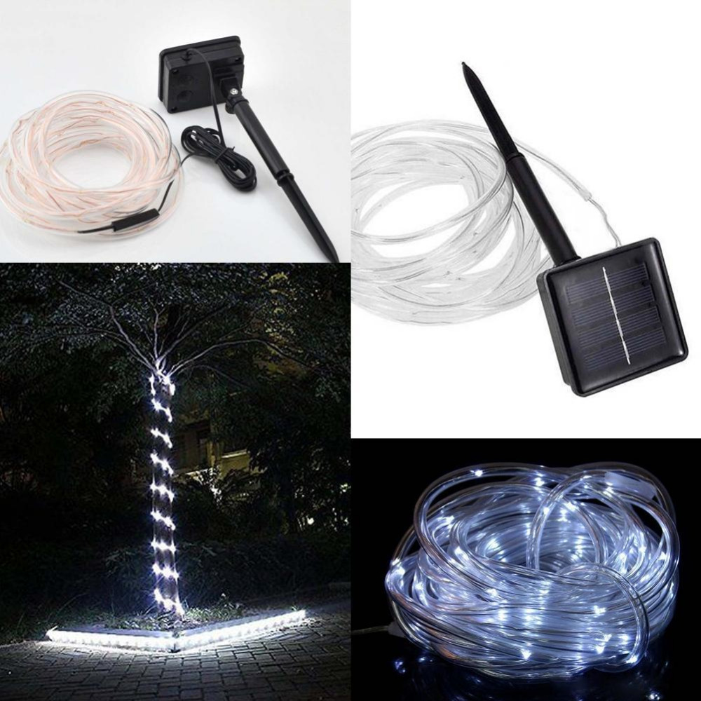 23ft 50LED Solar Power Rope Tube Lights Strip Waterproof Outdoor Garden White Christmas tree lights led light fixtures