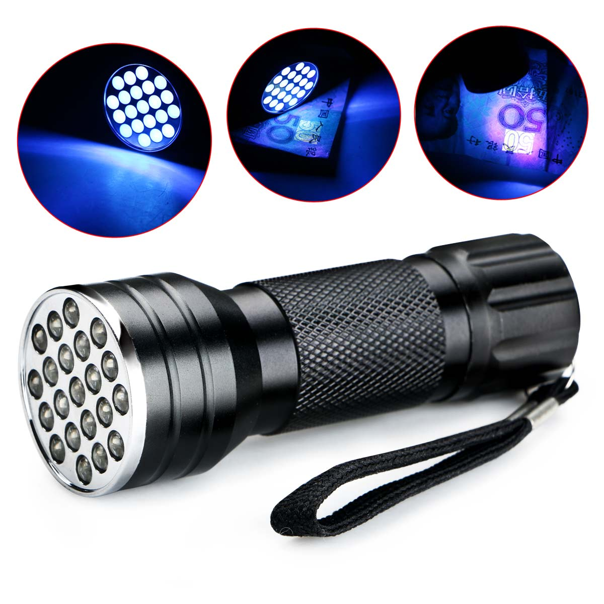 NEW Aluminium Invisible Blacklight Ink Marker 21 LED UV Ultra Violet 395nm Flashlight Torch Light Lamp For 3xAAA Batteries