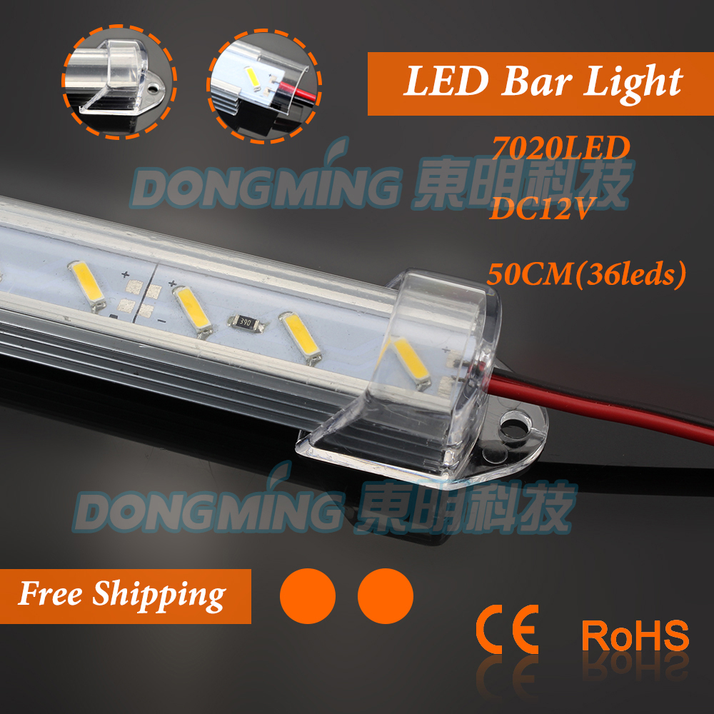 5pcs 12V 36leds 50cm led luces strip light 7020 led bar light + U groove + PC milky/clear cover + Male/Female DC connector