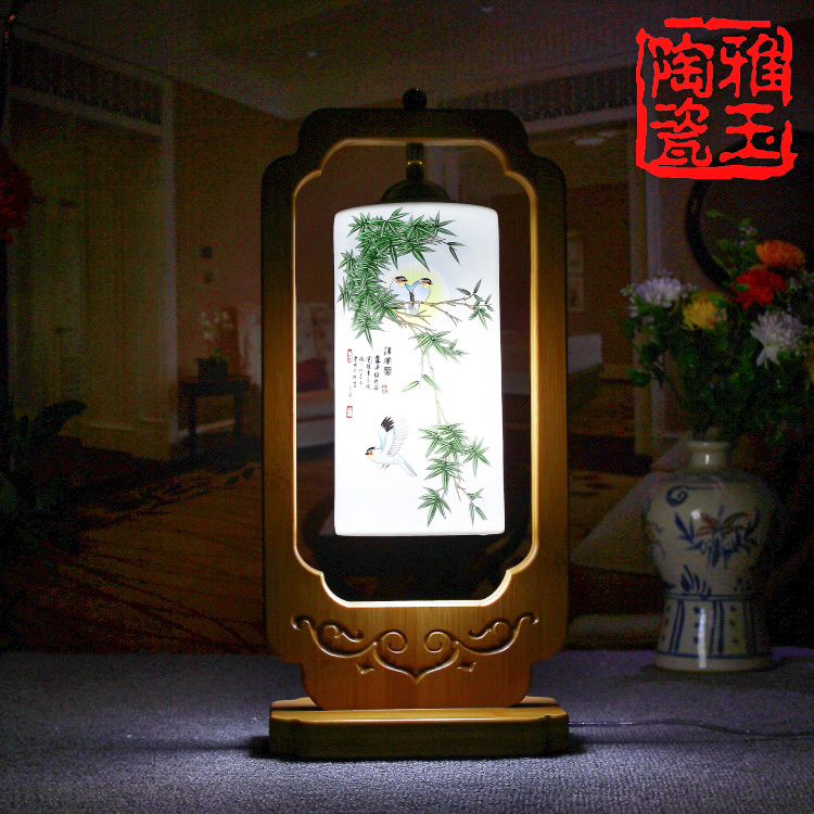 Chinese Style Classical LED E27 Desk Light For Living Room Bedroom Ceramic Lampshade Table Lamp