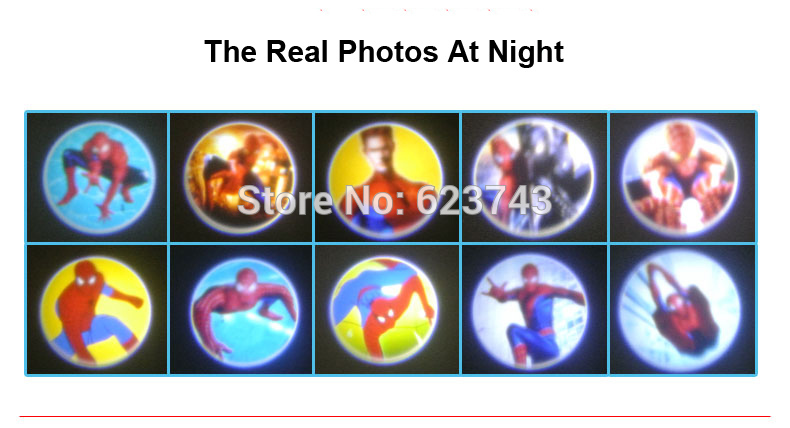 10Pcs/Lot Spider-Man Baby sleeping story projector flashlight 30pcs colors slides spiderman child light-up toy
