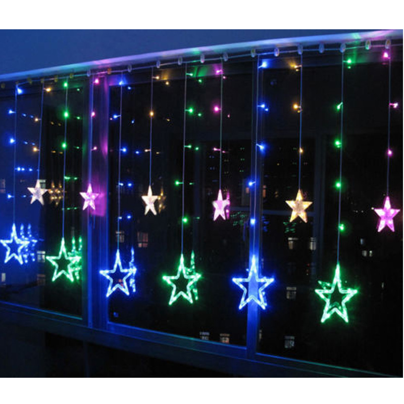 Durable  Flexible Water Resistance 2m 138LED Christmas Wedding Party Xmas Curtain Window Star Fairy String Lights