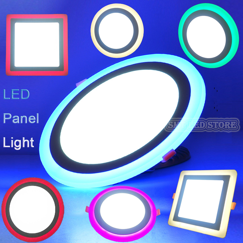 4 Colors 3 Mode 6w 9w 16w 24w led Ceiling Recessed panel Light Painel lamp home decoration Dimmable round square Led Panel light