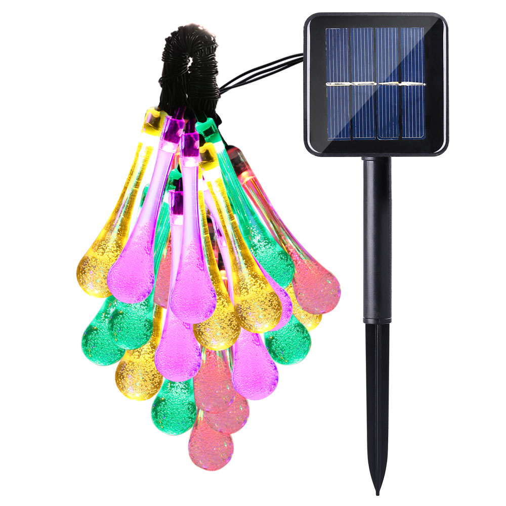 Ship from Spain,new 20 LED Water Drop Solar Fairy String Lights 8 modes for Wedding Christmas Party Festival Outdoor Decoration