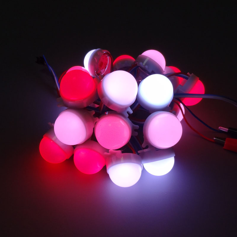 20pcs /Lot DC12V WS2811 30mm Diffused LED Pixel Module Full Color 3 LEDs 5050 RGB led lamp string waterproof IP68 milcky cover