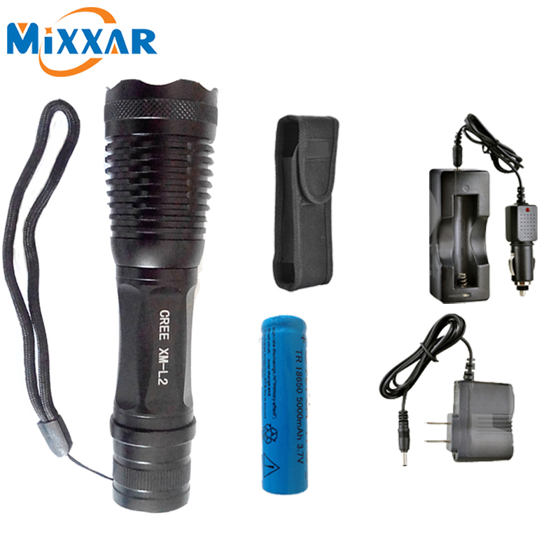ZK15 CREE XM-L2 LED Flashlight ZOOM  L2 T6 4500LM powerful Waterproof 5 Modes Adjustable Led Torch Flashlight Linterna Lamp