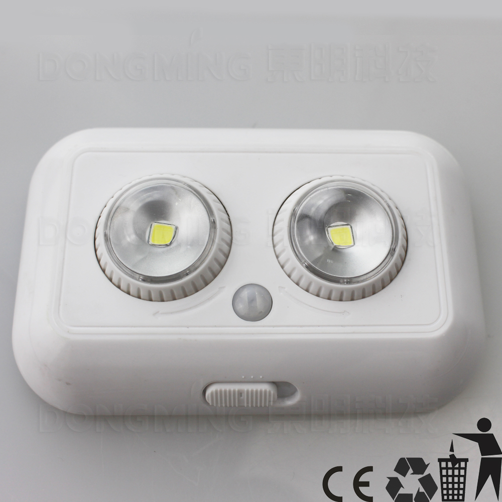 5pcs wireless 2 Bulbs LED PIR infrared motion sensor induction Battery powered for LED Ceiling cabinet night light & lamp