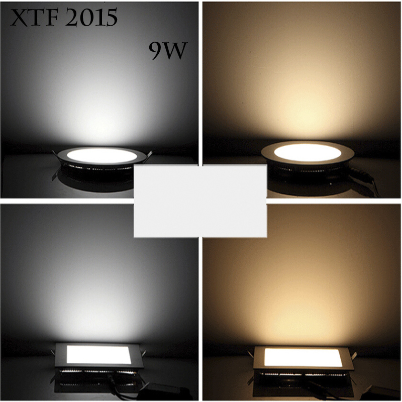 Xtf2015 9W Squar&Round Cool&Warm White Top Bright Super-thin  LED Panel Lamps Ceiling Light LED T-P9