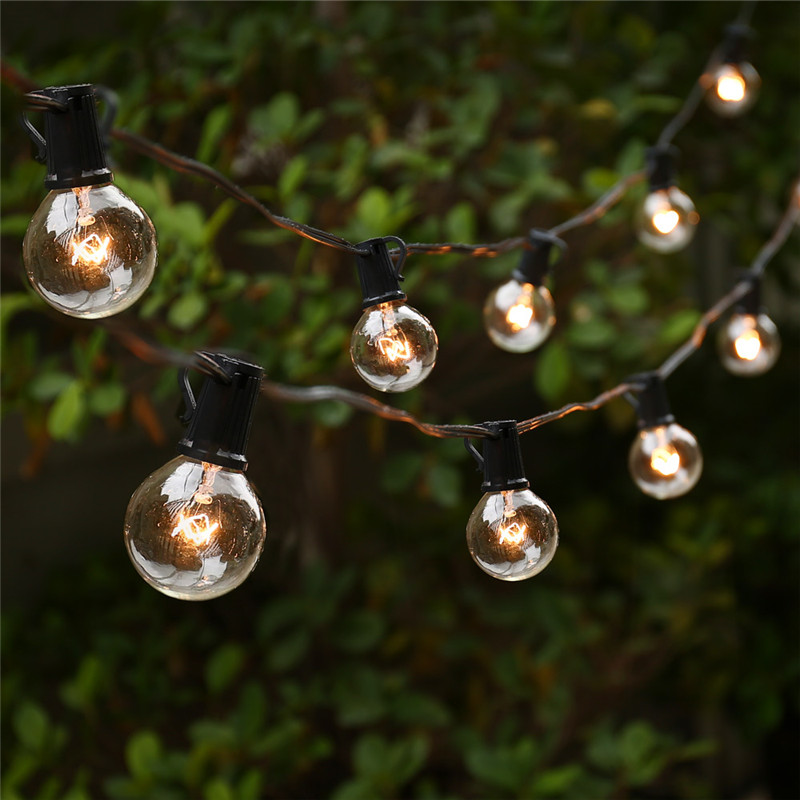 String Lights with 25 G40 Globe Bulbs UL listed for Indoor/Outdoor Commercial Outdoor Hanging Umbrella Garden Patio Lamp Lights