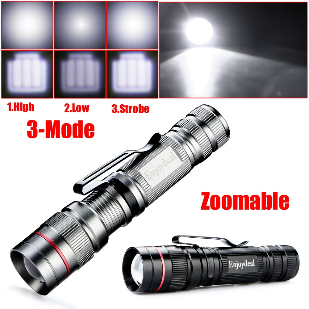 2017 NEW Enjoydeal CREE Q5 LED 2000 Lumens Lamp Clip Mini Zoomable 3 modes Flashlight Torch Penlight Camp Light For AA