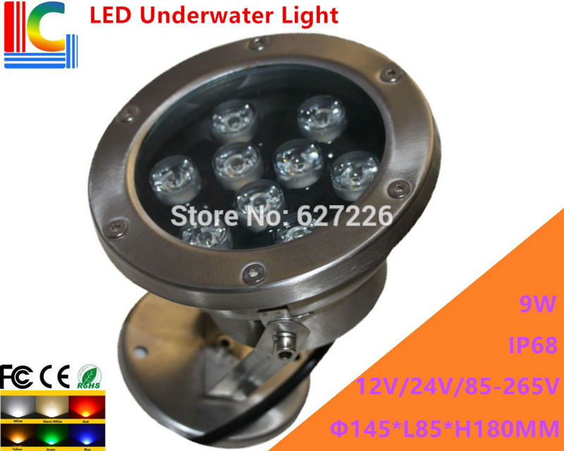 9W LED Underwater Light 12V 110V 220V Rotary Underwater Floodlight  IP68 Waterproof Outdoor Spotlight Pond Lamp 2PCs/Lot