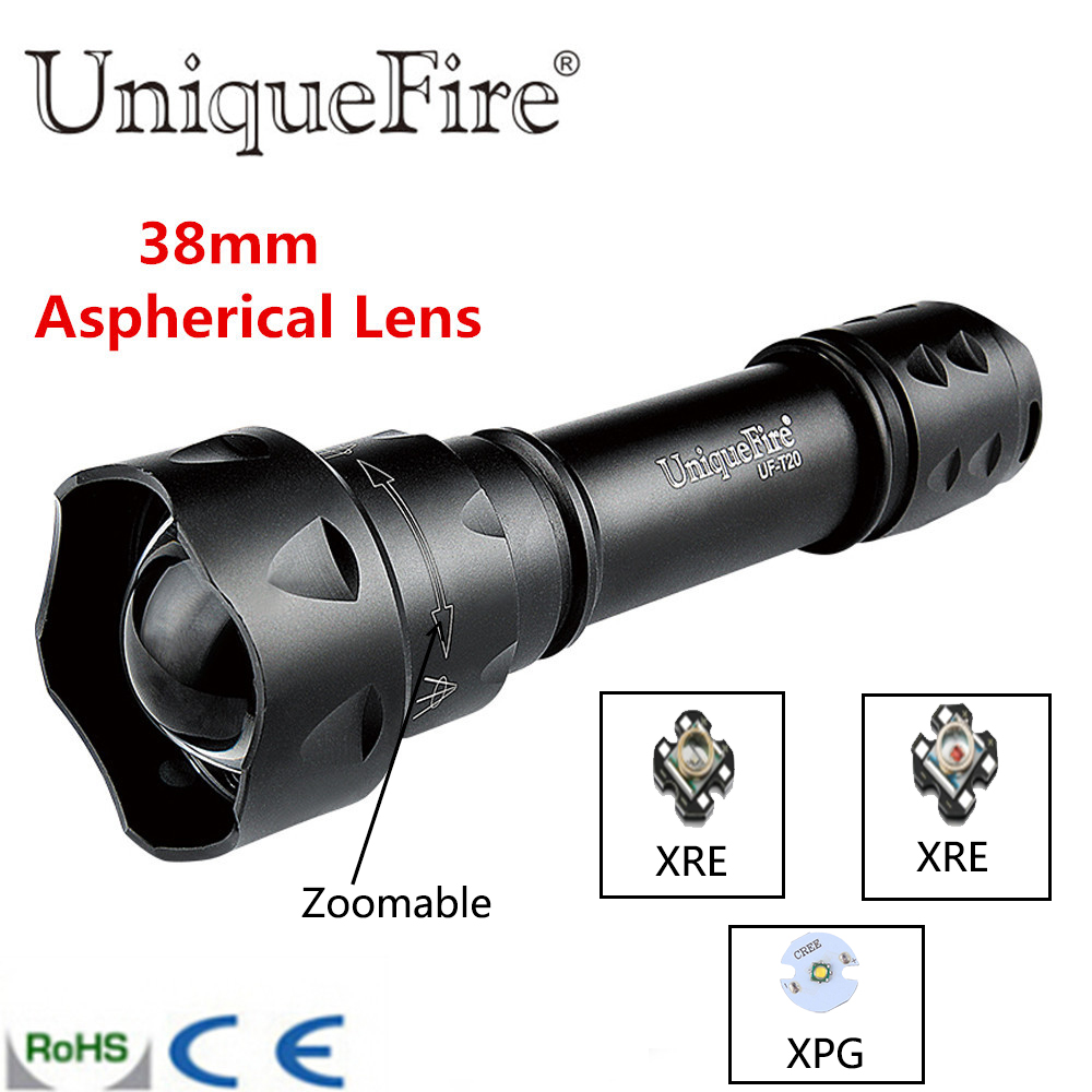 UniqueFire UF-T20 XRE/XPG Cree LED Flashlight Insert 3 Mode Shooting/memory Fits T20 Rechargeable Battery Green/White/Red Light