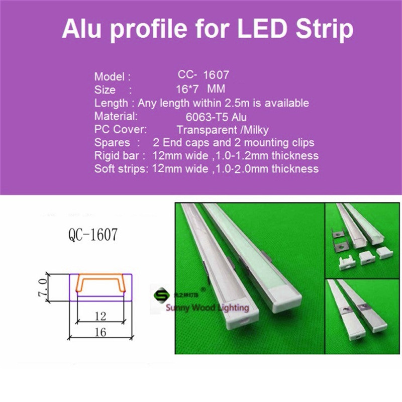 5-30pcs/lot ,1m aluminum profile for led strip,milky/transparent cover for 12mm 5050 strip with fittings LED bar light CC-1607