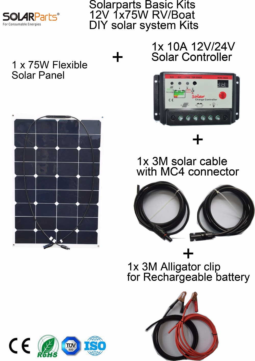 Solarparts Basic Kits 12V1x75W DIY RV/Marine Solar System Kits 75W flexible solar panel+controller+cable outdoor light led light