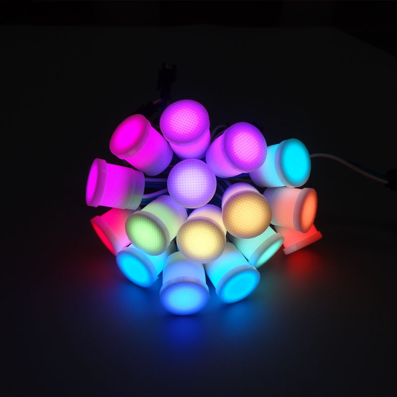 100pcs DC5V 16mm Diffused Addressable WS2811 IC Full Color LED Modules Light Outdoor Waterproof SMD 5050 RGB Pixel String Lights