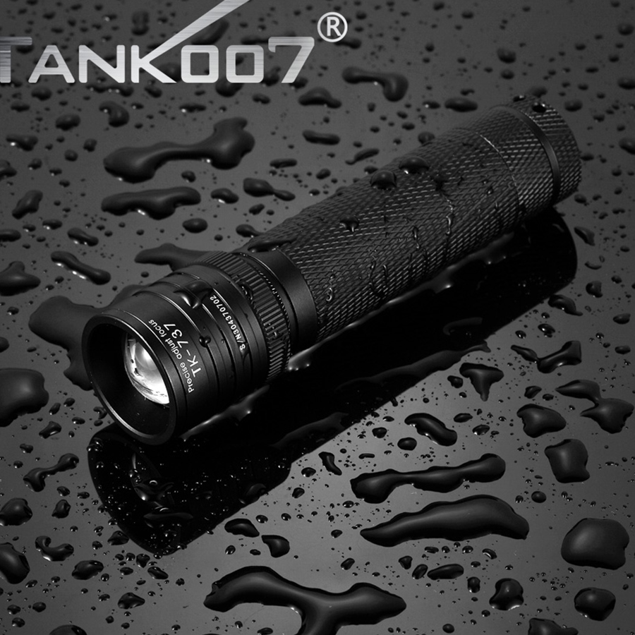 1 Set TANK007 TK737 Cree XM-L T6 460lumen aluminum zoom Led Flashlight Tactical Flashlight for Self Defense with 1*18650 Battery