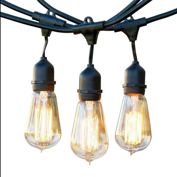48 FT Weatherproof Outdoor String Lights  - 48 Feet Long with 15 Dropped Sockets - Perfect Patio Lights - Black