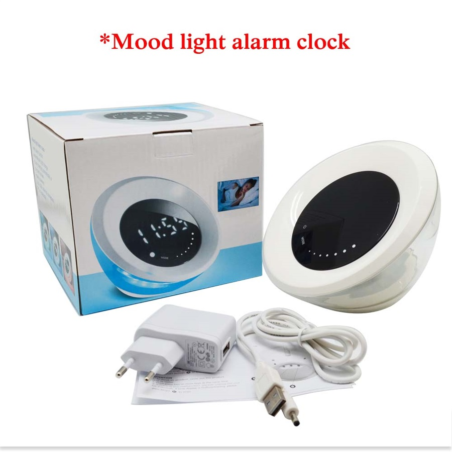 Hot Selling JW-6618 Wake Up Light Alarm Clock Living Colors Led Table Lamp Color Changing Automatically By Touch Screen