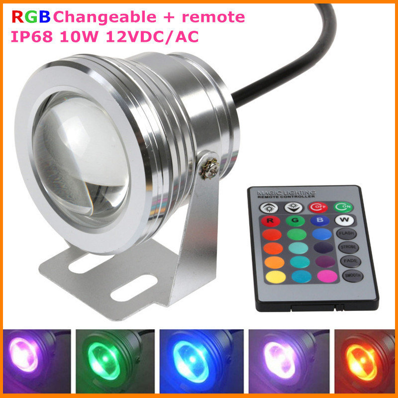 16 Colors 10W RGB 12V LED Underwater Fountain Light for Ponds Swimming Pool Aquarium LED Light Lamp Waterproof
