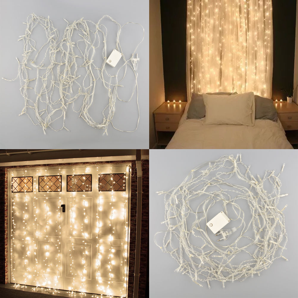 Romantic 1mx2m 220V Shining Warm white 104 LED Christmas Tree Party Wedding Wall Decor Light Curtain