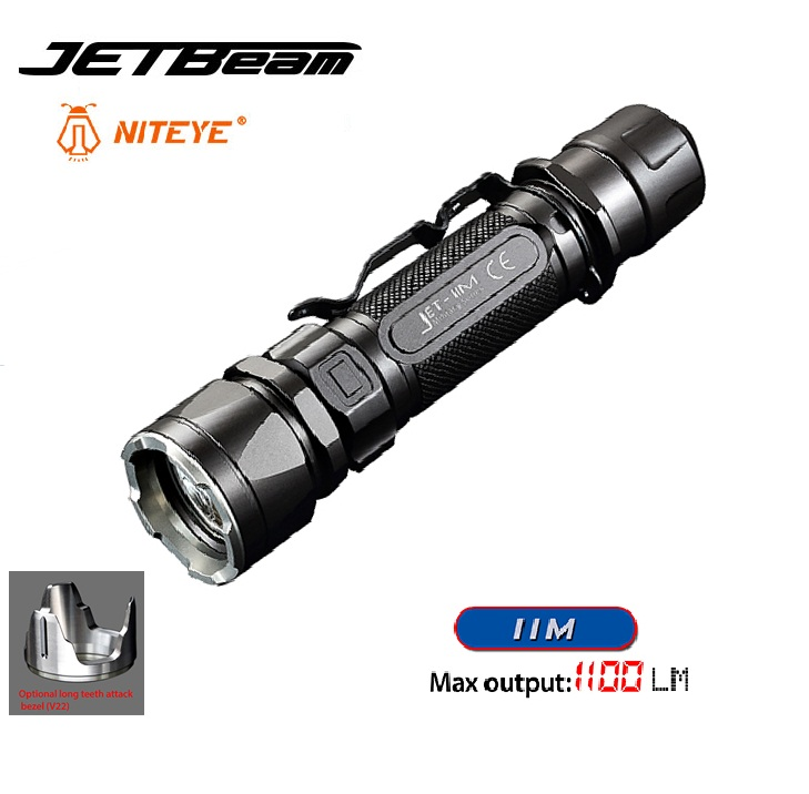 2016 New JETBeam IIM Cree XP-L HI 1100 Lumen Led Flashlight for Outdoor Activities by 18650 Battery Niteye Tactical Flashlight