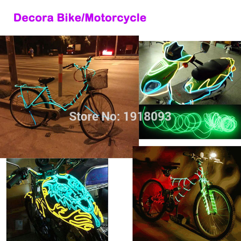 2017 Newest DC-3V EL Wire 1Meter 3.2mm 10 Color Choice Holiday Lighting Led Thread Indoor Decals Tags Flexible Neon Light