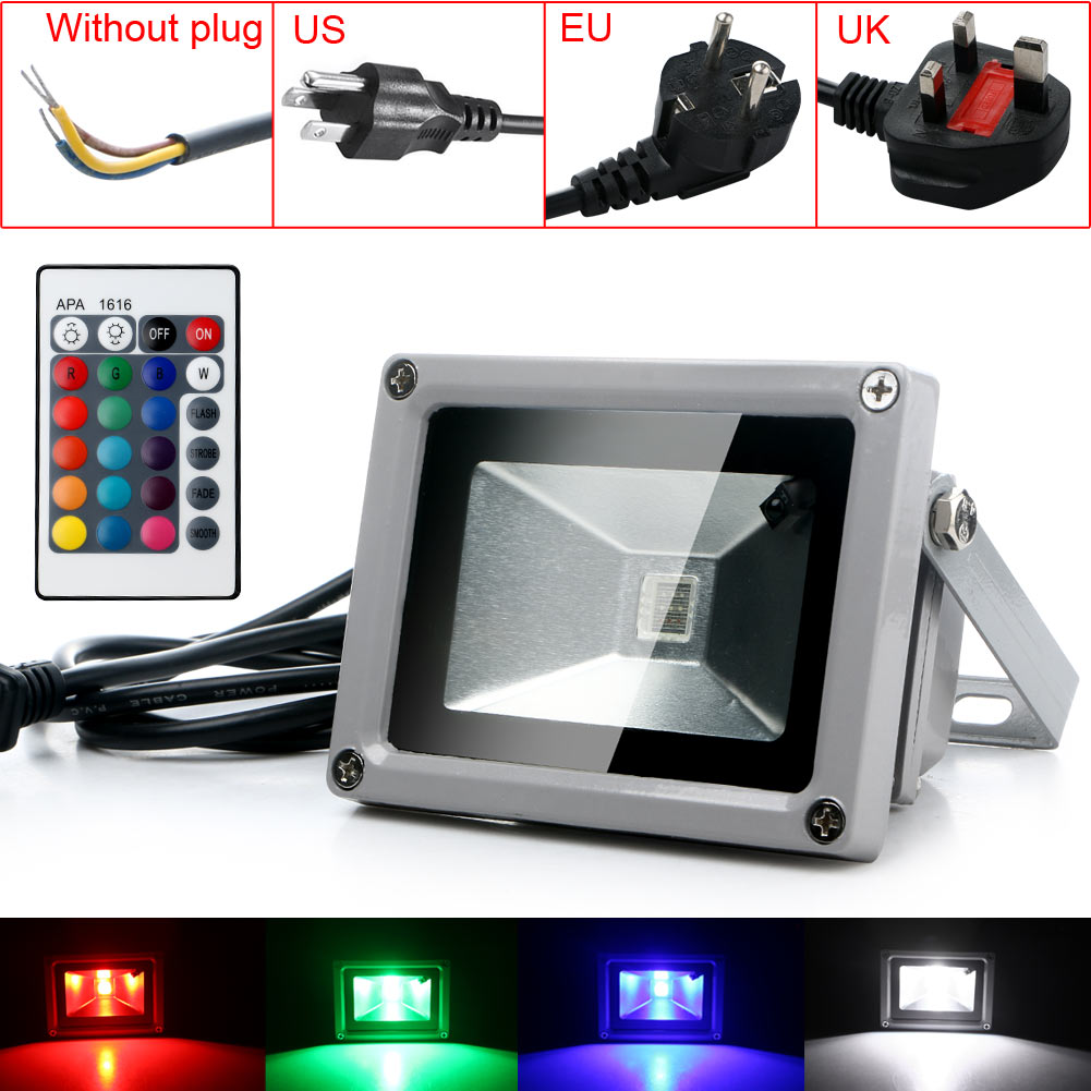 Outdoor Waterproof LED Flood Wash Light 10W 85-265V RGB Landscape Lamp Remote Control 5 Modes Spotlight hotel marketplace