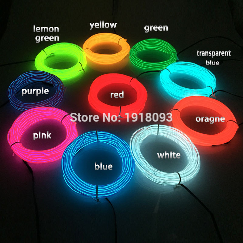2017 3.2mm 15Meter 10 Colors Optional Blinking EL wire Flexible Neon light Powered by 12V Holiday Lighting Toys Glowing supplies