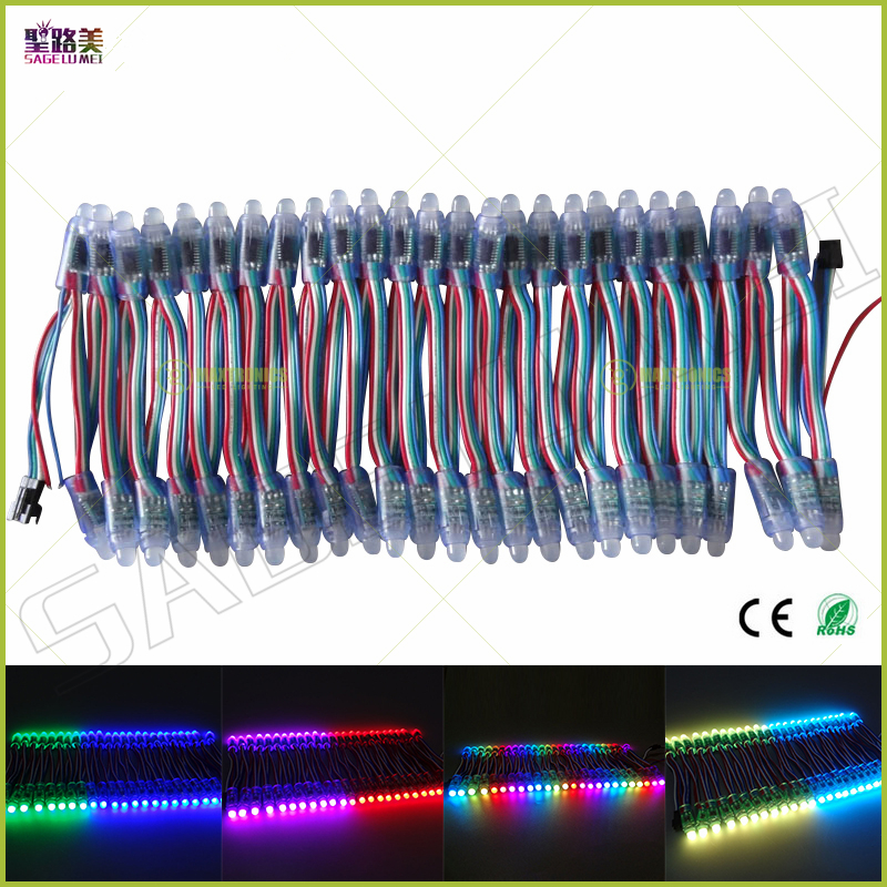 (50pcs/lot)DC5V WS2811/LPD6803/WS2801IC/DMX512 optionally led string led pixel module 12mm RGB Digital Full Color WaterproofIP68