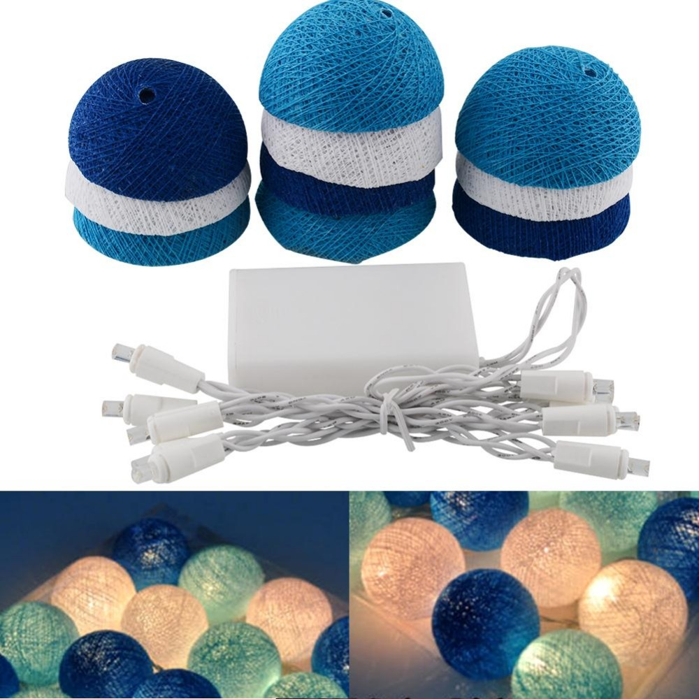 1.8M Tree Colors Aladin 10 Cotton Ball Battery String Light Blue Party Patio Decor Christmas Decorations For Home