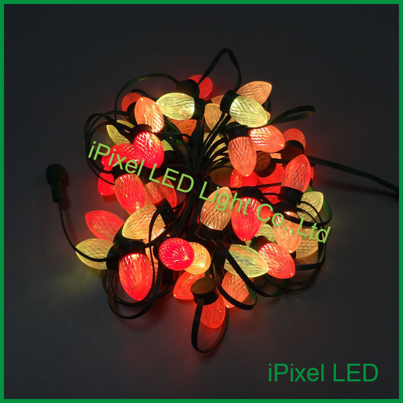 25mm diameter D24 Digital LED Christmas string Light 50pcs/chain DC12V 30w Altogether