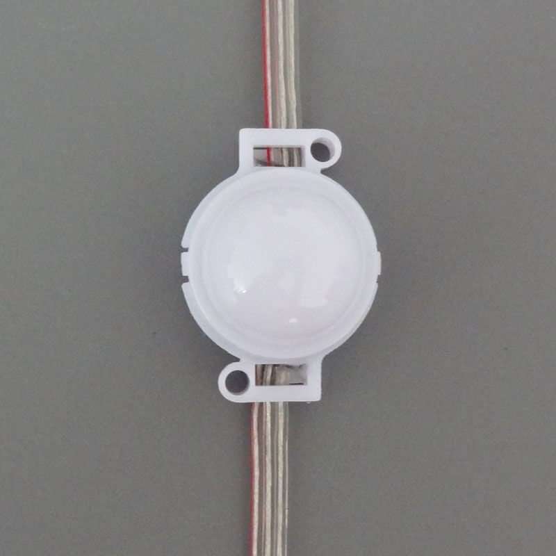30mm diameter IP68 12V WS2811 addressable led smart module 0.72W SMD 5050 RGB full color milky cover with transparent wires
