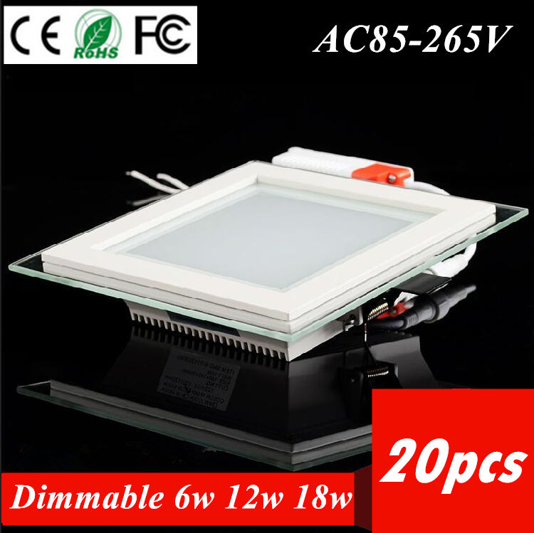 20pcs Dimmable Led Panel Light Glass Square Ceiling Recessed Downlight SMD 5730 Panel Light 6W12W 18W Warm/Cool White AC85-265V