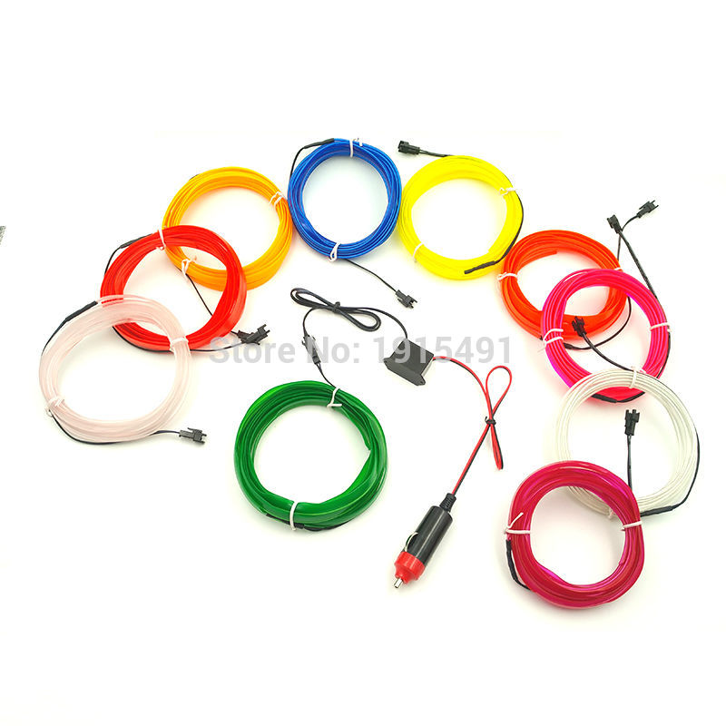 2.3mm-skirt EL Wire 10Meters Flexible Novelty Light Glowing 10 colors Select with DIY Car Interior Decorative with DC12V Control
