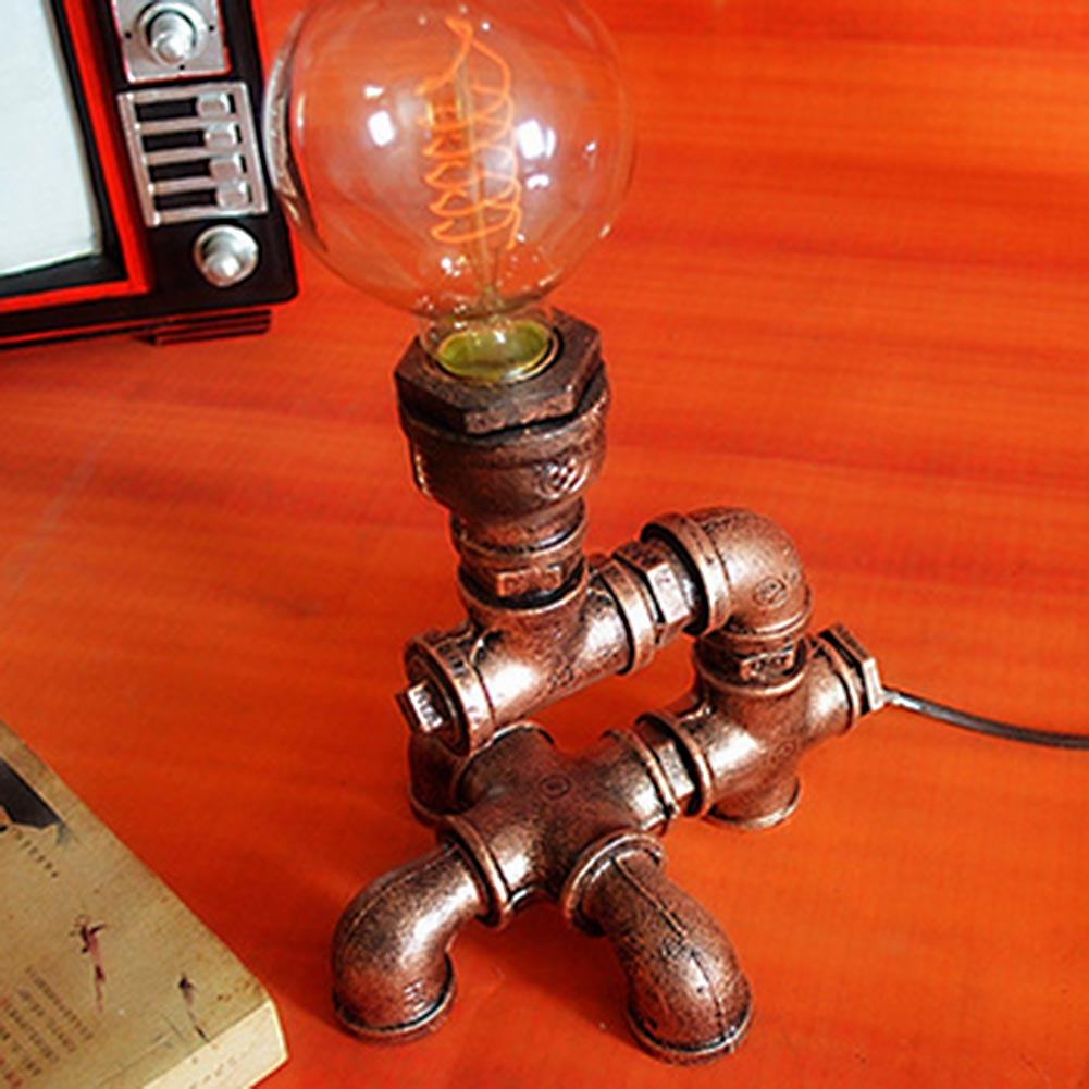 Table Lamp Retro Industrial Wrought Iron Water Pipes Art Desk Lamps Vintage Bedroom Lamp Deco Bedside Light Fixtures