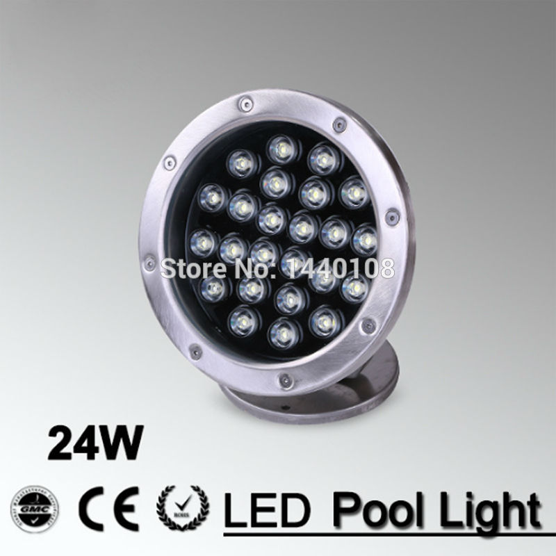10pcs/lot ac85-265v or AC24v 24w warm white RGB color changeable LED underwater light lamp fountain lamp led swimming pool light