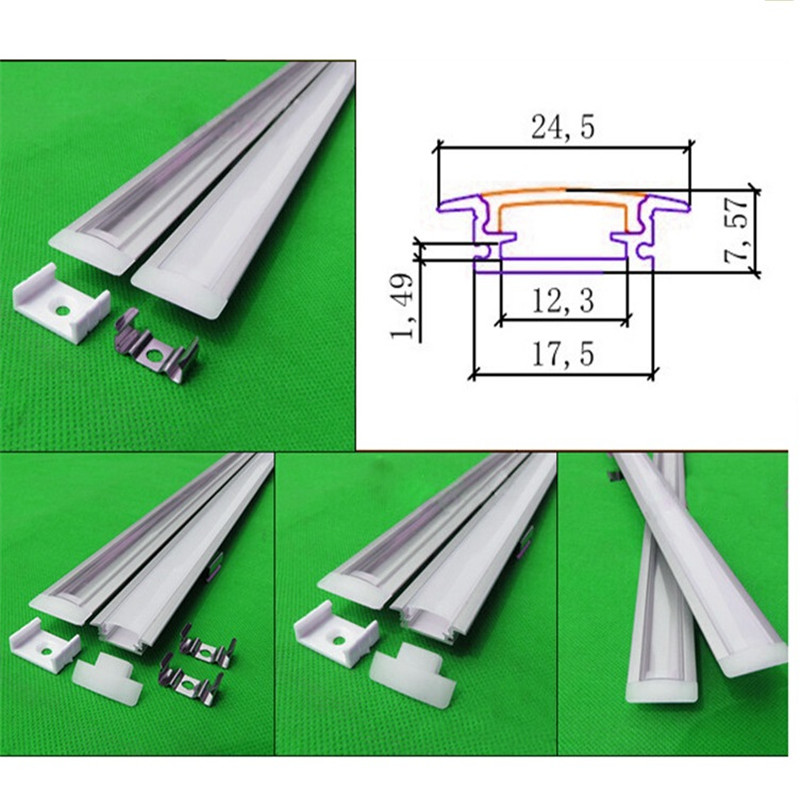 40m,20pcs of 2m aluminum profile for led strip,led bar light for 5050 strip milky/transparent cover 12mm pcb channel
