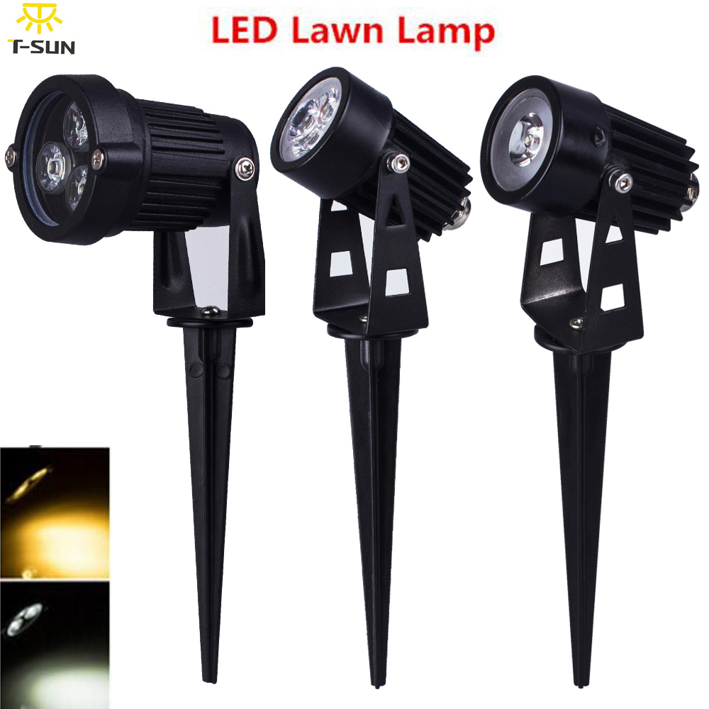 T-SUNRISE 10PCS PACK Super Bright Outdoor LED Lawn Light 220V 3W LED Garden Spotlight Spike Energy Saving Landscape Lighting