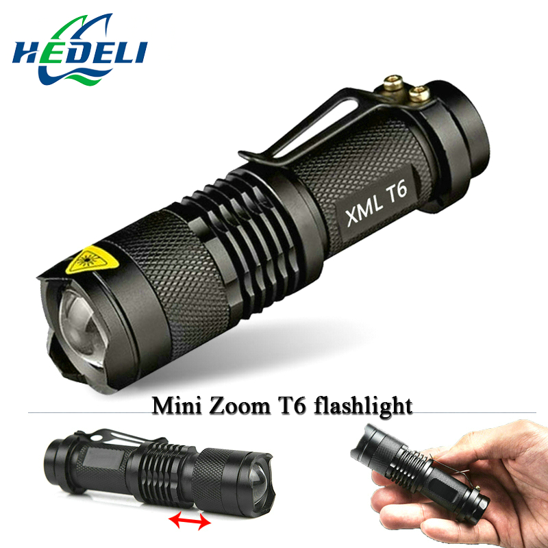 Mini  Zoomable  led flashlight torch cree xml T6 3000 lumens waterproof use rechargeable battery 18650  flash light