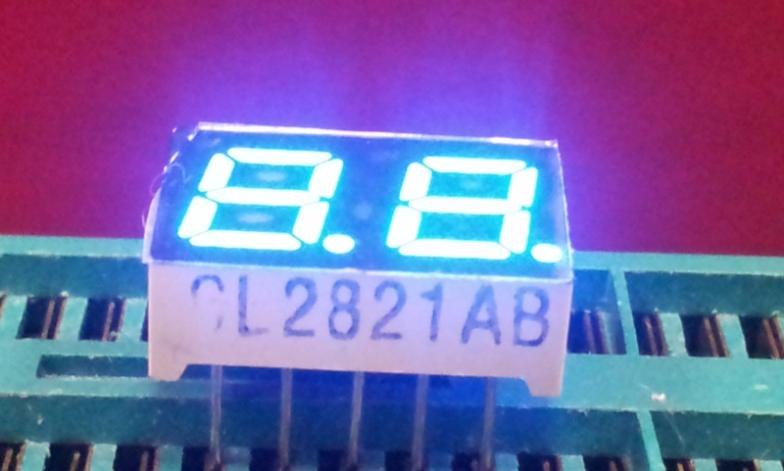 "0.28"" inch  common cathode 2821BB 7 segment blue led display 2 digits"