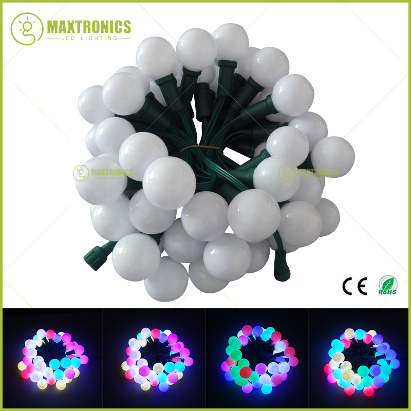 Wholesale price 500nodes addressable RGB G40 DC12V WS2811 LED Christmas pixel string light all GREEN wire waterproof IP68