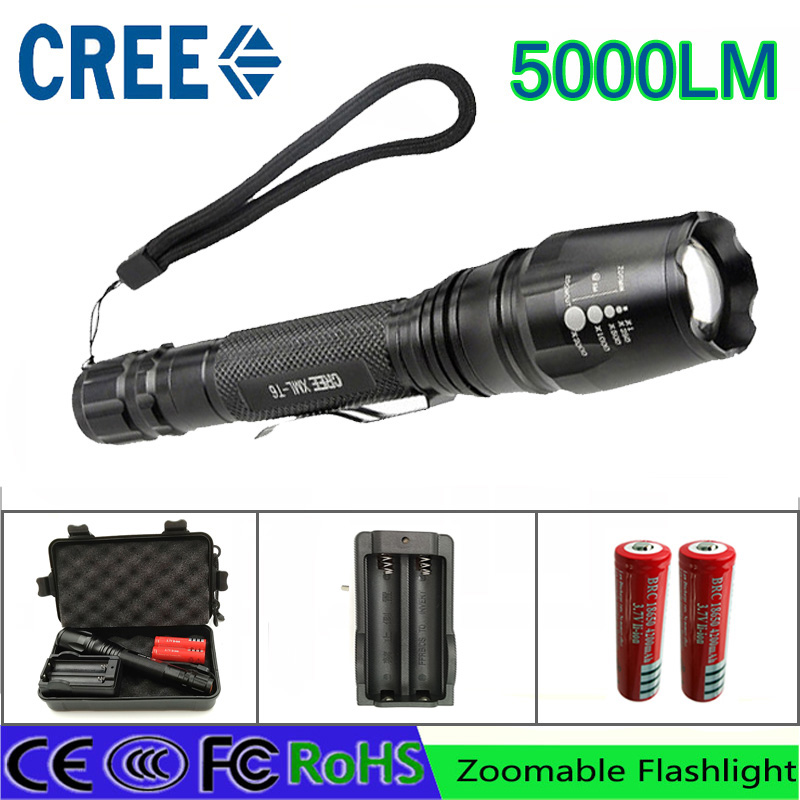 Z35 LED Flashlights Torch 5000 lumen CREE XM-L T6 zoomable led torch For  2x18650 batteries aluminum led flashlights linternas