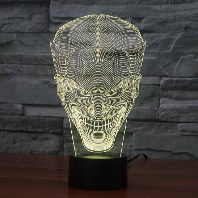 7 Color Night Light 3D Bulbing LED Smile Face Jack Figure Home Decor Bedside Table Lamp USB Regcharging novelty gift IY803342