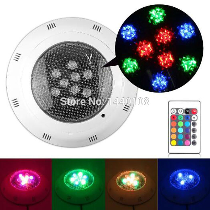 10pcs/lot 24w LED Swimming pool light  AC 12V RGB IP68 LED remote control underwater Lamp Outdoor Lighting Pond lights