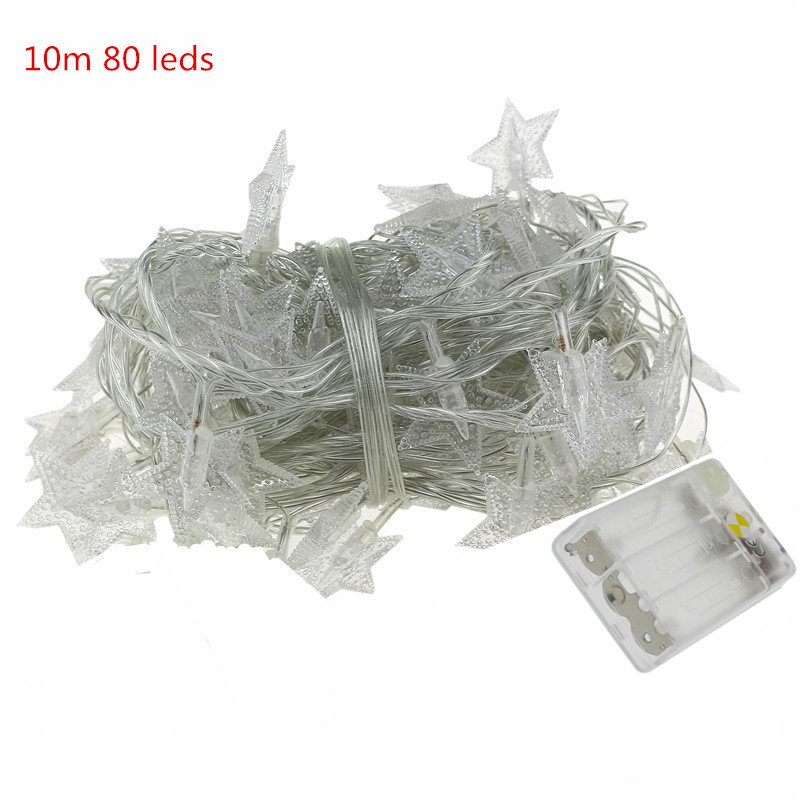 10m Waterproof colorful LED Christmas Light Wed Party Garden Xmas battery led star String holiday Light Outdoor led lamp bulb